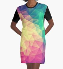 Abstract Polygon Multi Color Cubism Low Poly Triangle Design Graphic T-Shirt Dress