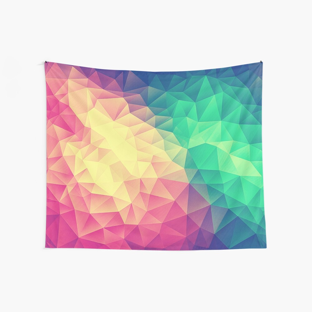 Abstract Polygon Multi Color Cubism Low Poly Triangle Design Wandbehang