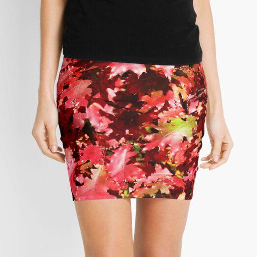 Autumn Oak Leaves Mini Skirt