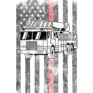 Fire truck American Flag Thin Red Line Firefighter Shirt by we1000