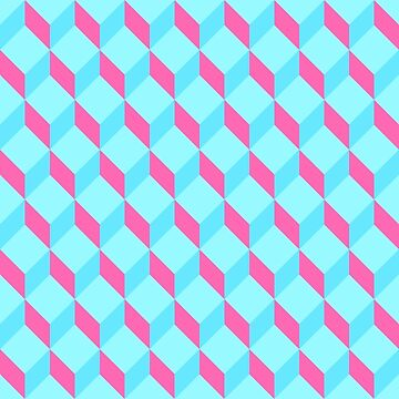 Cool cyan and pink optical illusion retro geometrical 3D cubes by UDDesign
