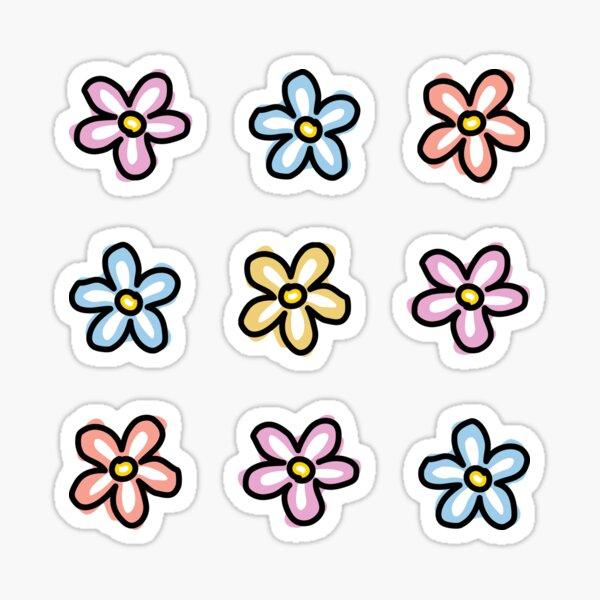 Pink Blue Orange Daisy Flowers (9 Multi Pack) Sticker