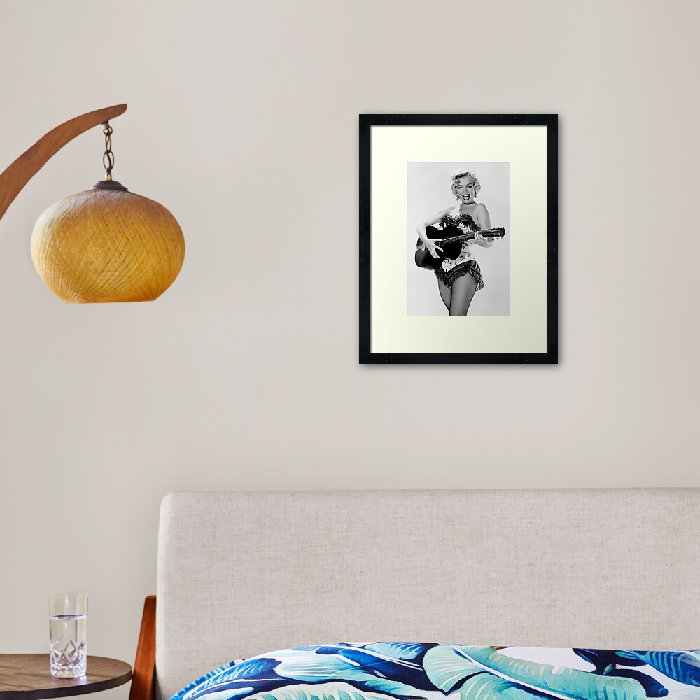 Marilyn with Guitar Framed Art Print