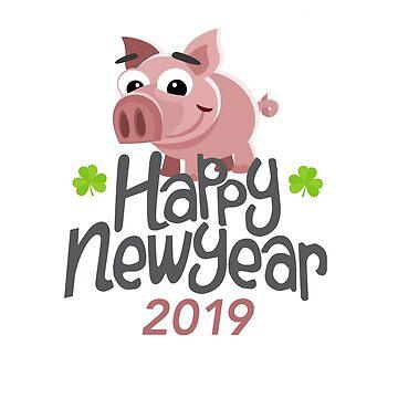 Pig Animals Piggy 2019 new year eve gift christmas by Rueb
