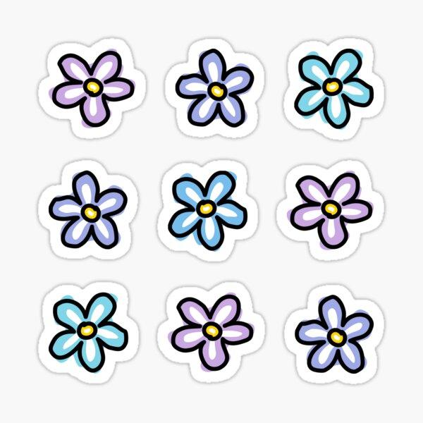 Purple Blue Turquoise Flowers (9 Multi Pack) Sticker
