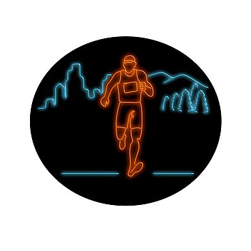 Marathon Runner Running Oval Neon Sign by patrimonio