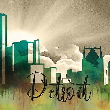 Detroit | CIty Skyline | Colorful Watercolor by PraiseQuotes