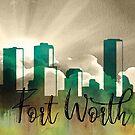 Fort Worth | Stadt Skyline | Buntes Aquarell von PraiseQuotes