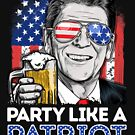 Reagan Ronald Party Like A Patriot 4th of July T shirt Men by LiqueGifts