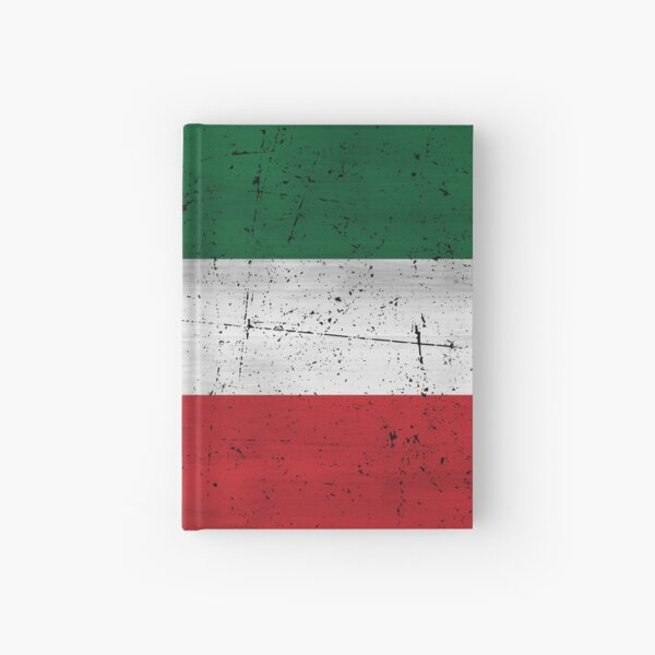 Quebec Patriot flag grunge style eroded Drapeau Patriote Québec red green white HD HIGH QUALITY ONLINE STORE Hardcover Journal