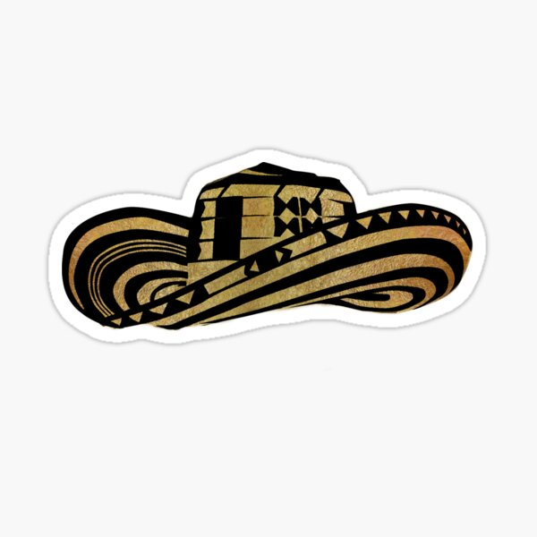 Colombian Sombrero Vueltiao in Gold Leaf and Black Ink Sticker