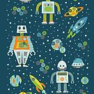 Robots in Space - Blue + Green by latheandquill