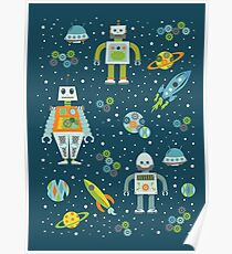 Robots in Space - Blue + Green Poster