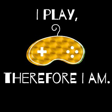Video Game Retro Controller Latin Quote Adaptation - I play, so I am. Nerd gift idea by qwerdenker