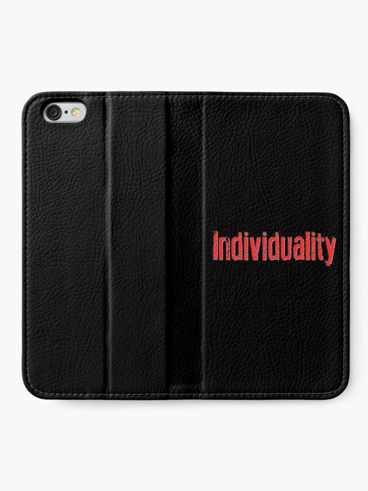 "Alternate view of ""Individuality"" Text Art iPhone Wallet"