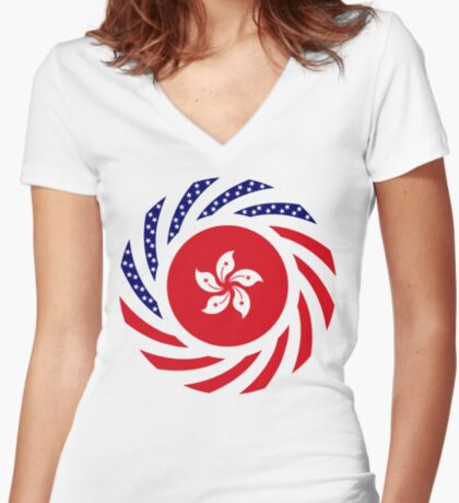 Hong Kong American Multinational Patriot Flag Series Fitted V-Neck T-Shirt
