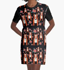 Red Bulls and Roses Graphic T-Shirt Dress