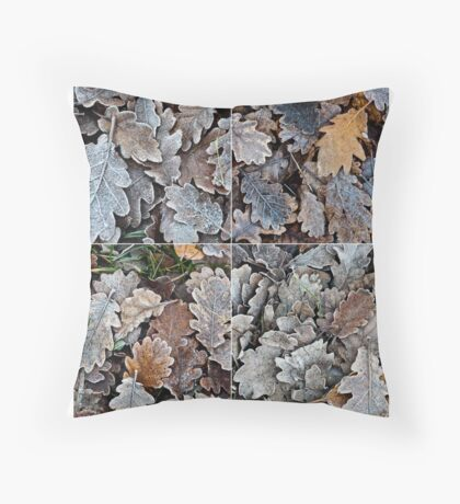 Frozen leaves Throw Pillow