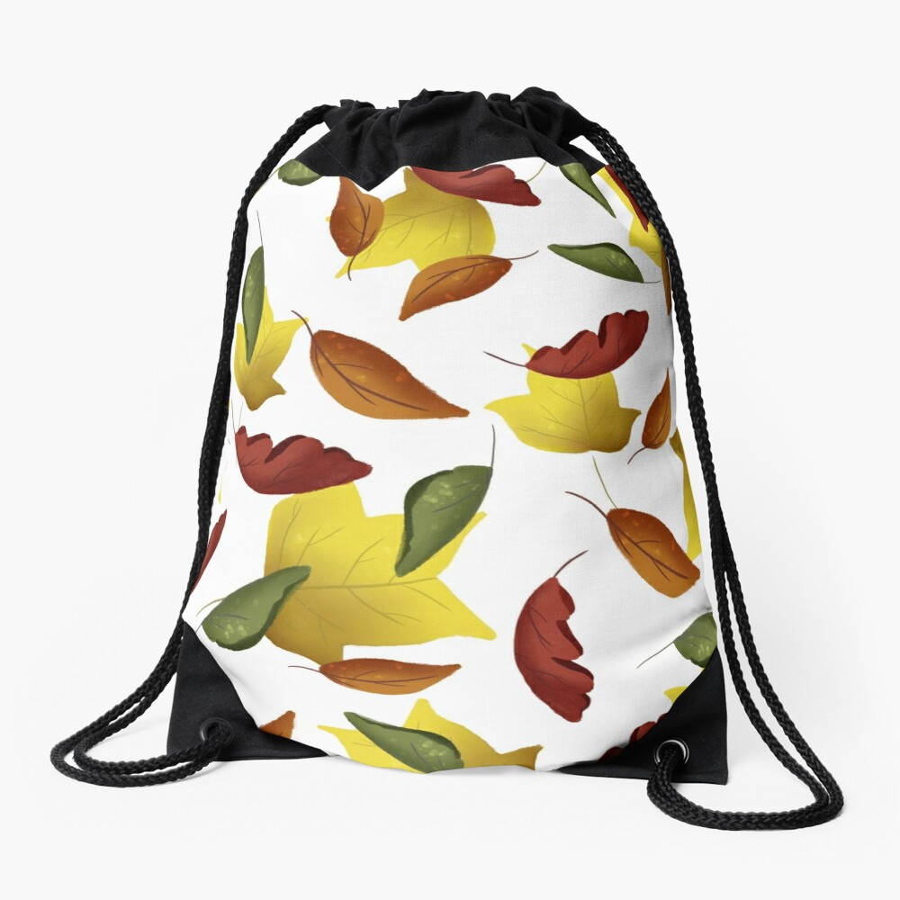 Falling Watercolor Leaves Drawstring Bag