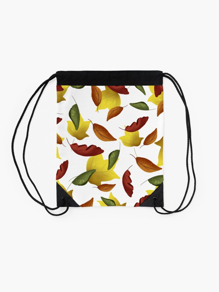 Alternate view of Falling Watercolor Leaves Drawstring Bag