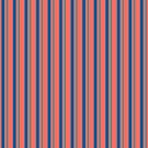 Stripes - Coral with Blues and Greens by STHogan