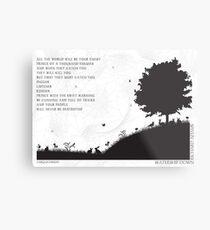 Watership Down schwarz und weiß illustrierte Zitat Metalldruck