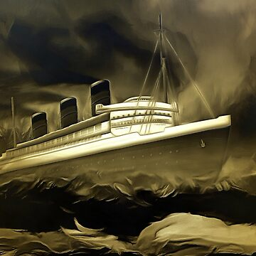 An old style digital painting of RMS Queen Mary by ZipaC