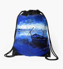 sunrise boat silence watercolor splatters cool blue Drawstring Bag