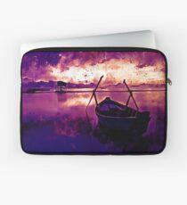 sunrise boat silence watercolor splatters late sunset Laptop Sleeve