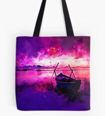sunrise boat silence watercolor splatters Tote Bag
