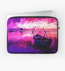 sunrise boat silence watercolor splatters Laptop Sleeve