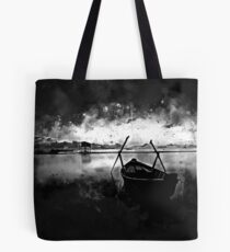 sunrise boat silence watercolor splatters black white Tote Bag