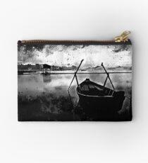 sunrise boat silence watercolor splatters black white Studio Pouch