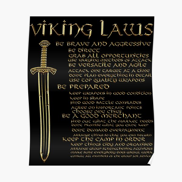Viking Laws Sword Scandinavia Iceland Valhalla Poster