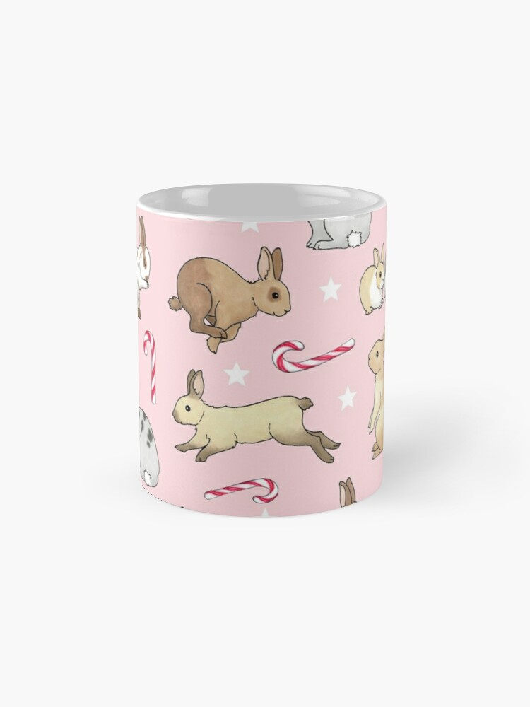 Alternate view of Christmas Rabbits and Candy Canes - pink Standard Mug