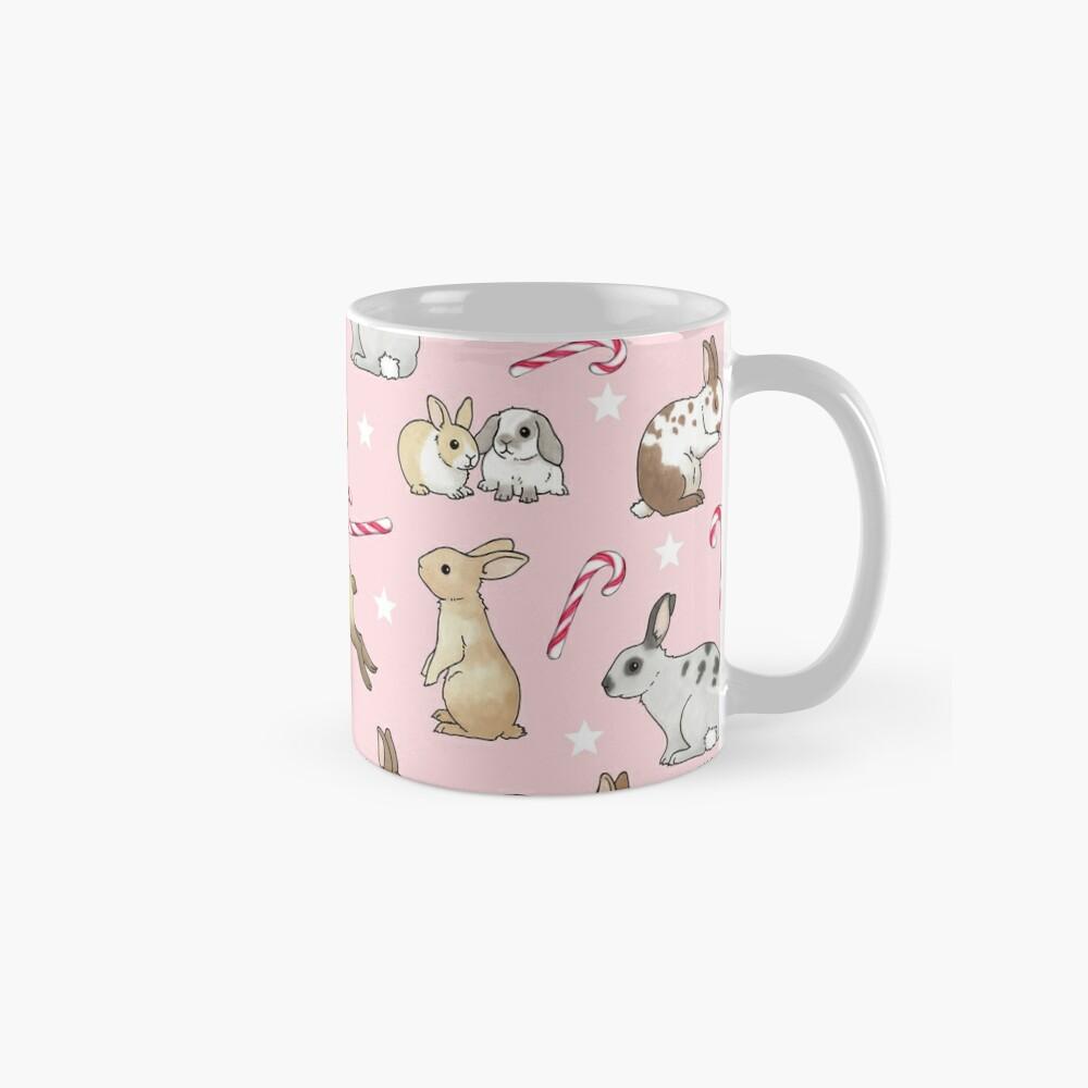 Christmas Rabbits and Candy Canes - pink Standard Mug