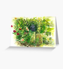 Watercolour Sketch of Buddha Statue in Garden Greeting Card