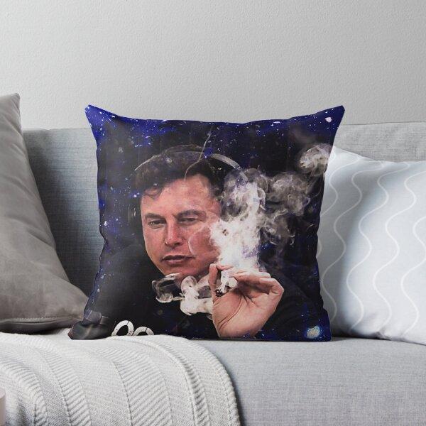 Elon Musk smoking Throw Pillow
