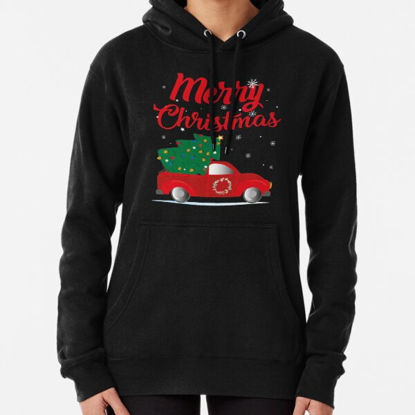 Red Truck With Christmas Tree - Retro Christmas Sweater Pullover Hoodie