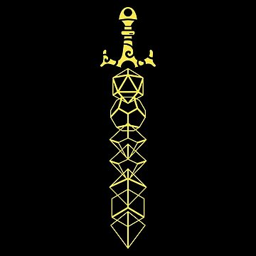 The Polyhedral Dice Collector's Yellow Sword by pixeptional