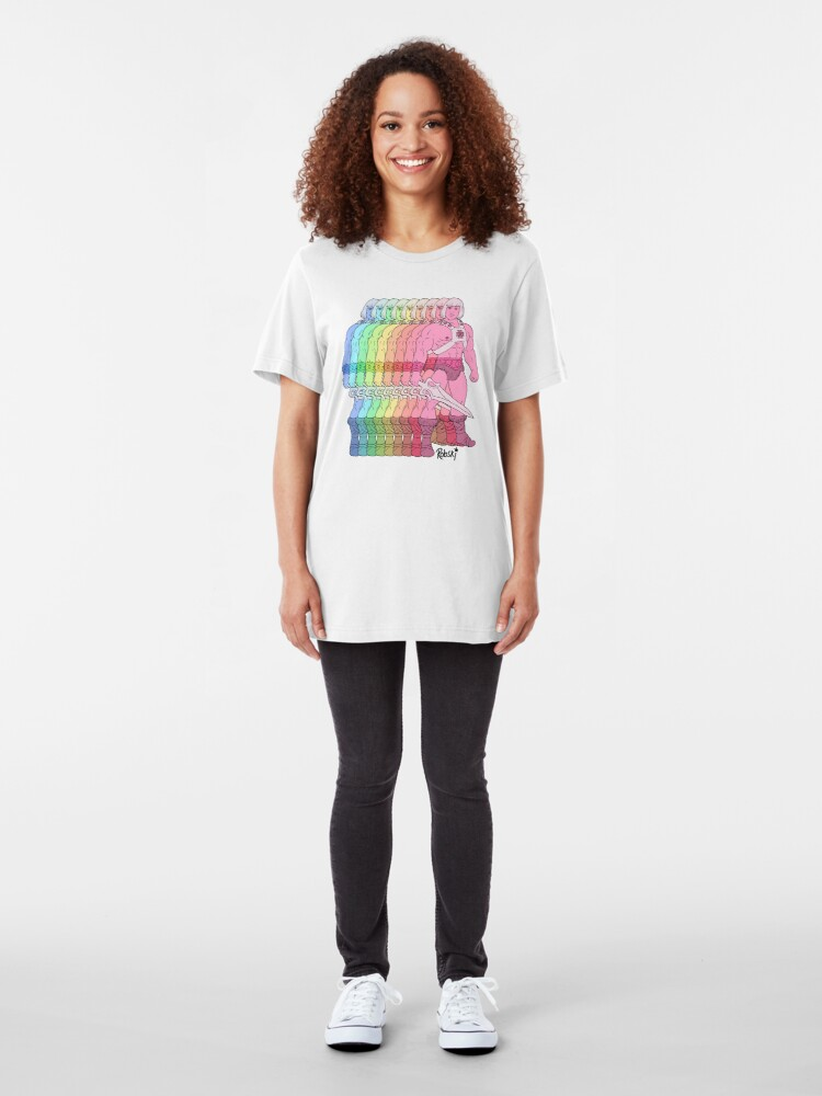 Alternate view of 80's Rainbow Heman - I have the power! Slim Fit T-Shirt
