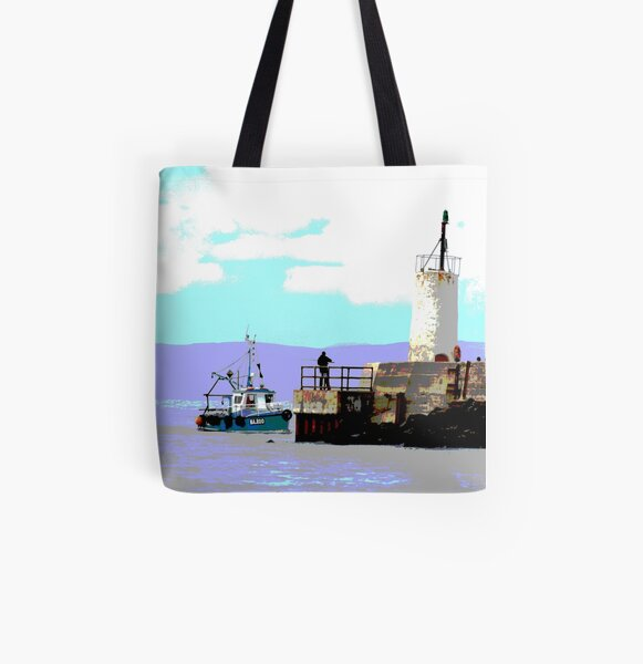 Girvan harbour All Over Print Tote Bag