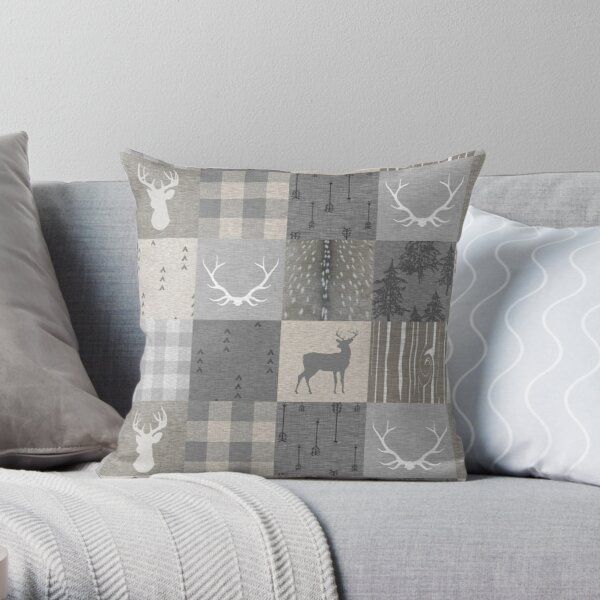 Rustic Woodland Patchwork - grey and beige Throw Pillow