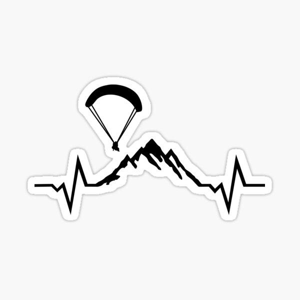 Parapente, montagnes et rythme cardiaque ECG Sticker