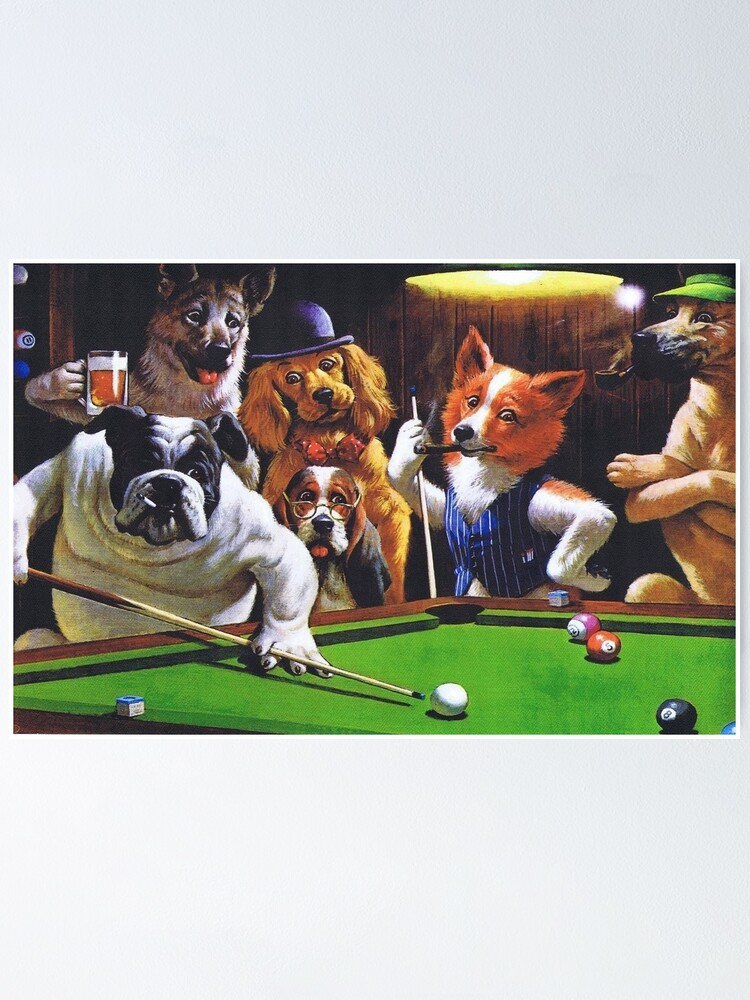 Alternate view of Dogs Playing Pool Poster
