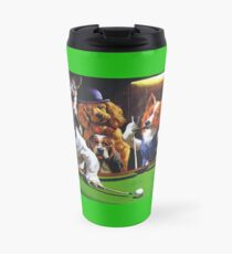 Dogs Playing Pool Travel Mug