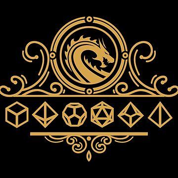 Polyhedral Dice and Dragons Gold Tabletop RPG by pixeptional