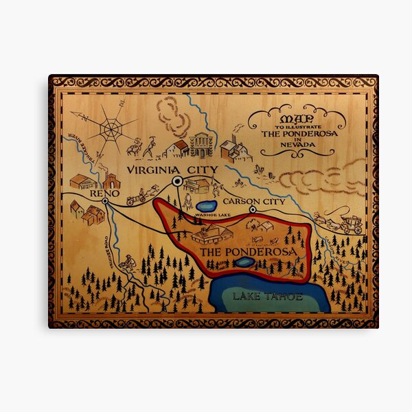 The Ponderosa Map Canvas Print