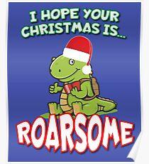 Roarsome Christmas Dinosaur Poster