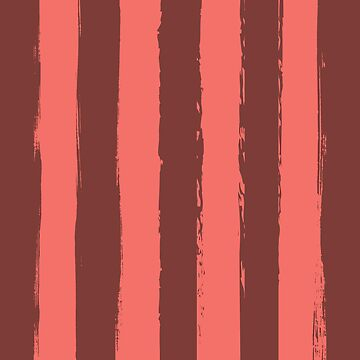 Living Coral Rustic Stripes With Maroon by broadmeadow